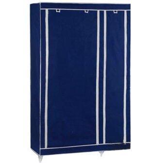 ตู้เสื้อผ้าแบบ 2 บล๊อค พร้อมผ้าคลุมกันฝุ่นและช่องเก็บของ 5 ชั้น -สีน้ำเงินเข้ม
