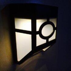 โคมไฟผนัง โซล่าเซลล์ 2 LED ทรง modren (เเสง : เหลืองวอมไวท์)