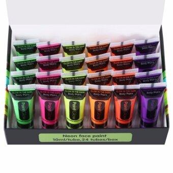 24pcs Grow Luminous Acrylic Art Fluorescent UV Body Paints forHalloween Makeup - intl
