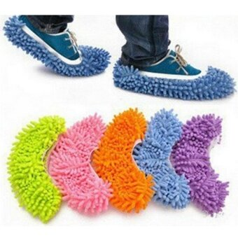 2PCs Fashion Convenient Dust Mop Slipper House Cleaner Lazy Floor Dusting Cleaning Foot Shoe Cover Dust Mop Slipper Cleaner Slipper - intl