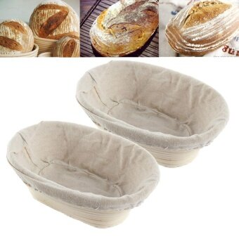 2Pcs Handmade Oval Banneton Brotform Bread Dough Rising Proofing Rattan Basket - intl