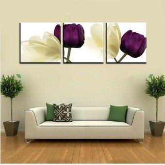 3ชิ้นรูปจิตรกรรมฝาผนังอันร้อนขายสีม่วงประดับดอกไม้บ้านศิลปะภาพพิมพ์ภาพวาดบนผ้าใบ(ไม่มีกรอบ)