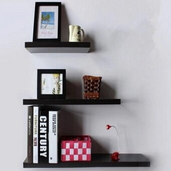 เสนอราคา 3 Pack 40+50+60cm DIY Wooden Sky Floating Wall Shelves (Black)