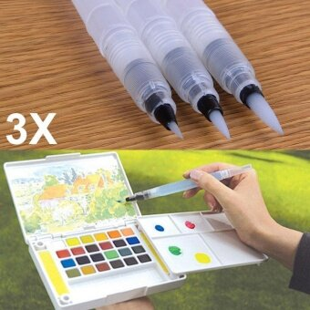 3 Pcs Refillable Ink Color Pen Water Brush Pen Office StationeryRefillable Ink Color Pen Water Brush Pen Office Stationery size:L -intl