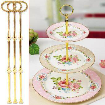 3 Pcs/Set 3-Tier Oval Ring Top Cake Stand Cake Plate Holdercolor:Gold - intl