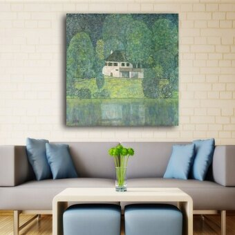 30x30CM Waterside Green Scenry canvas art By Gustav Klimt oilpainting Wall Printings On canvas wall pictures for livingroomdecoration - intl
