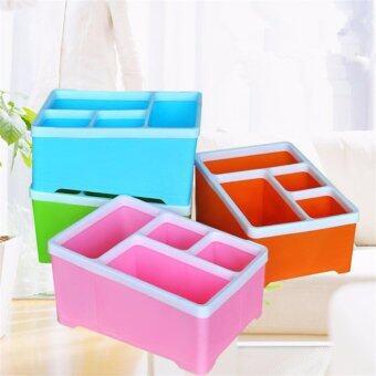 กล่องใส่รีโมท กล่องใส่ปากกา ดินสอ ใส่ได้ 4 ช่อง ทรงสี่เหลี่ยม (มี 4กล่อง 4 สี : ชมพู เขียว ฟ้า น้ำตาลอ่อน )