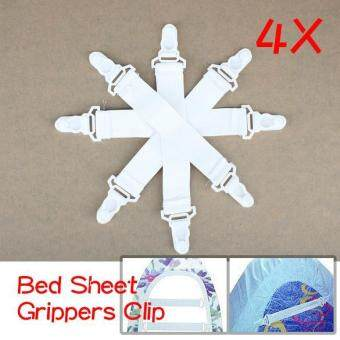 4 Pcs Bed Sheet Fasteners Elastic Grippers Clip Holder - intl