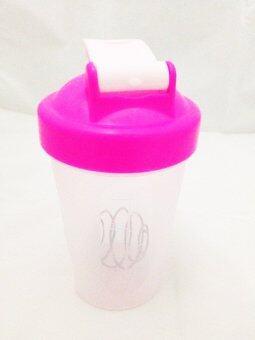 แก้วเชค ถ้วยเชค เชคเกอร์ ขนาด 400 ml สำหรับผสมโปรตีนและชงอาหารเสริม - สีชมพู