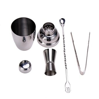 4pcs Stainless Steel 250ml Cocktail Shaker Jiggle Wine Tool Set -intl
