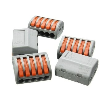 5Pcs 5 Pins Reusable Spring Lever Terminal Block Electric CableWire Connector - intl