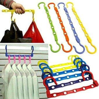 5PCS Portable 5 holes Hanger Rack Clothing Space Saver Wonder MagicHanger Hook Closet Or ...