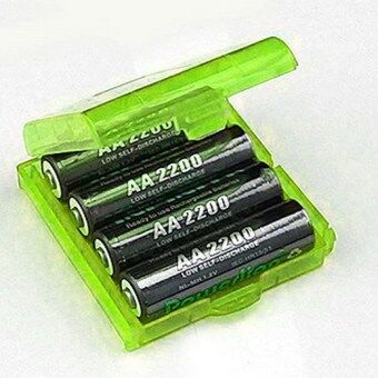 6 Pcs Hard Plastic Blue/Green/White Holder AA/AAA Battery StorageBox Case (Green)- - intl