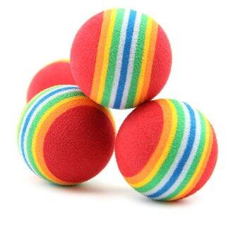 6 x Colorful Pet Cat Kitten Soft Foam Rainbow Play Balls ActivityFunny Toys - INTL (image 1)