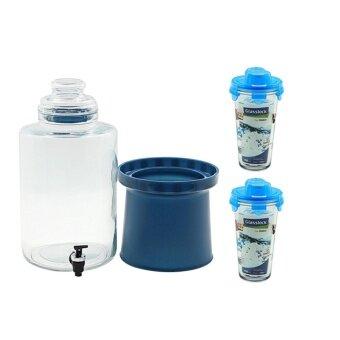 ชุดโถแก้วจ่ายน้ำผลไม้ 6.9 ลิตร พร้อมแก้วเชคเกอร์ 2 ใบ