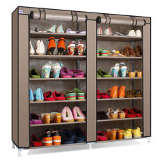 7 Tiers 13mm Steel Pipe Shoe Storage With Non Woven Fabric Large Capacity Shoe Rack For Living Room (Coffee) - intl