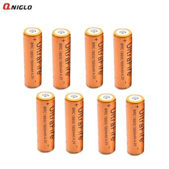 8Pcs UltraFire 7800mAh 18650 Rechargeable Lithium Li-ion Batteries+ free battery case carrying(yellow)