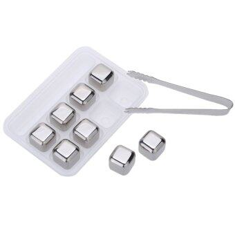 Harga 8Pcs/lot Whiskey Wine Beer Stones 440C Stainless Steel Cooler StoneWhiskey Rock Ice Cube Edible Alcohol Physical Chiller Stone - intl