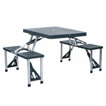 สนใจซื้อ โต๊ะปิคนิคพับได้ รุ่นพลาสติก ABS 4 ที่นั่ง (สีเขียวเข้ม)