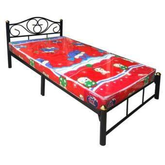 ADDHOME เตียงเหล็ก ขา 2 นิ้ว พร้อมที่นอนฟองน้ำ ขนาด 3.5 ฟุต รุ่นDuo- Lotus-3.5 (สีดำ)