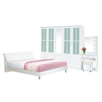 ADDHOME ชุดห้องนอน ขนาด 6 ฟุต รุ่น Dream-5-6 (สีขาว)