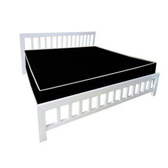 ADDHOME เตียงเหล็กกล่อง พร้อมที่นอนใยยางหุ้ม PVC ขนาด 6 ฟุต รุ่นPVCExtra-6 (สีขาว)