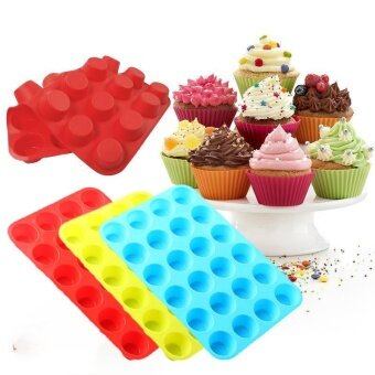 ADS Practical High-quality Hot Sell 24 Cavity Mini Muffin Silicone Soap Chocolate Cookies Cupcake Bakeware Mould - intl