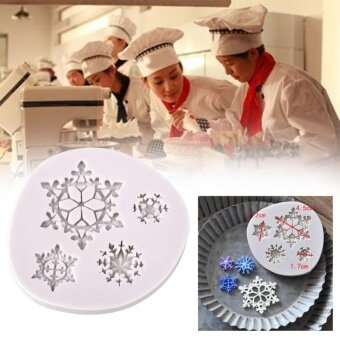 ADS Practical High-quality Hot Sell Christmas Snowflake Cake Mold Chocolate Xmas Decor Silicone Bakeware Baking Tool - intl