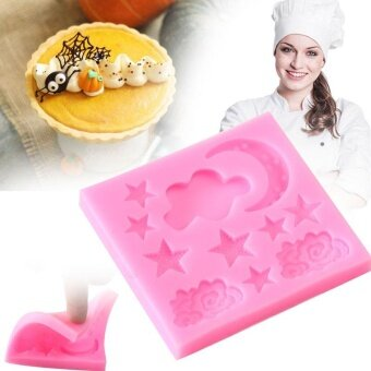 ADS Practical High-quality Hot Sell Pink Silicone Moon Star Cloud 3D Mold Bakeware Birthday Cake Chocolate Baking - intl