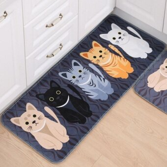 AJKOY-Floor Mats Animal Cat Printed Bathroom Kitchen CarpetsDoormats Cat Floor Mat for Living Room Anti-Slip - Black + 40 x 60cm - intl