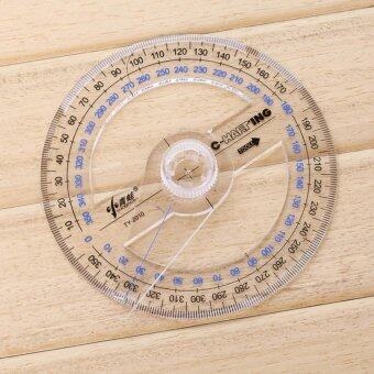 All Circular 10cm Plastic 360 Degree Pointer Protractor Ruler AngleFinder Swing Arm For School Office Supplies - intl