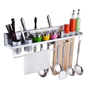 Aluminum Kitchen Storage Rack Pantry Pan Pot Organizer Cookware Holder Hooks Spice Dinnerware Shelf - intl