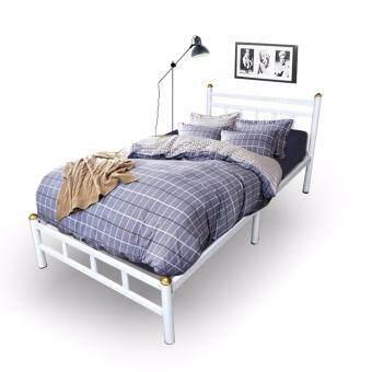Asia เตียงเหล็กอย่างหนา พับได้ ขนาด 3.5ฟุต รุ่น Vintage สีขาว