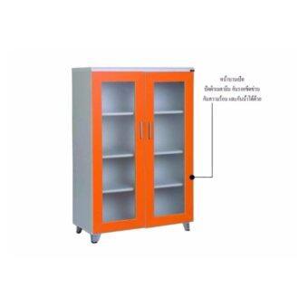 Asia ตู้อเนกประสงค์บานกระจก ผิวเมลามีน ขนาด 80 ซม. สีส้ม