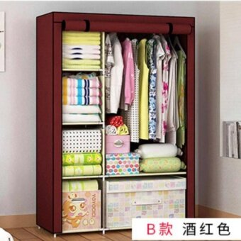BanZai ตู้เสื้อผ้า 2 บล็อคเปิดข้าง พร้อมผ้าคลุม (สีเลือดหมู) pantip