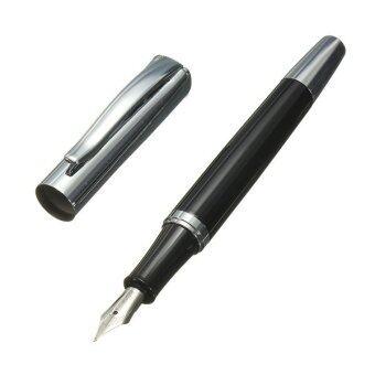 Baoer 051เรียบสแตนเลสสีดำไซส์กลางปลายปากกาหมึกซึมของขวัญธุรกิจศึกษา