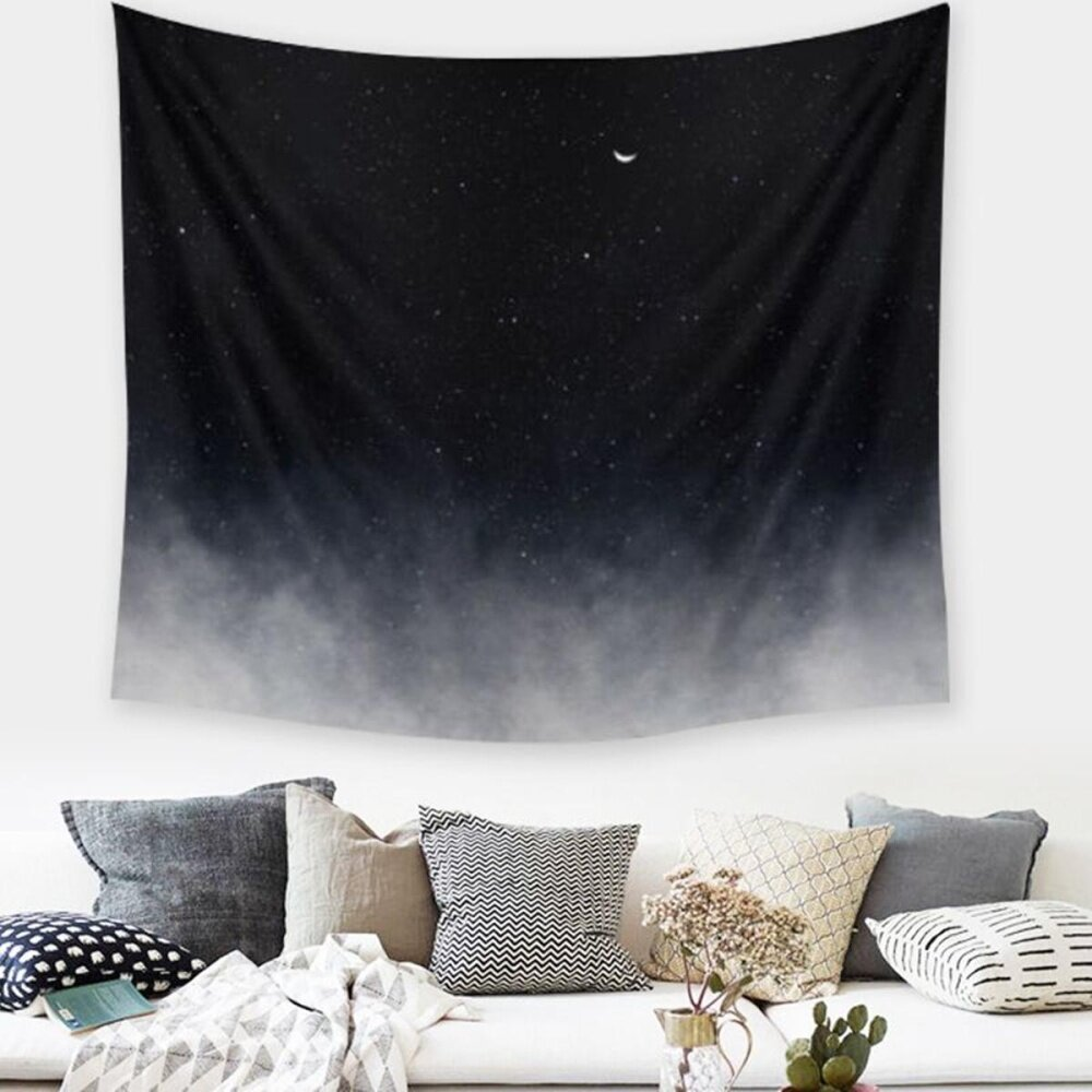Black Galaxy Mandala Tapestry Wall Hanging Throw Dorm Beach Bedspread Mat Decor -