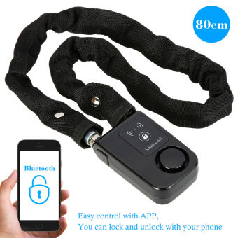 Bluetooth 80cm Black Chain Smart Lock Anti Theft Alarm KeylessPhone APP Control Lock - intl