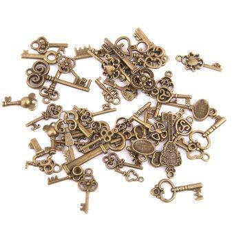 BolehDeals 50ชิ้นเหล้าองุ่นผสมกุญแจผีจี้เครื่องรางบรอนซ์โบราณ