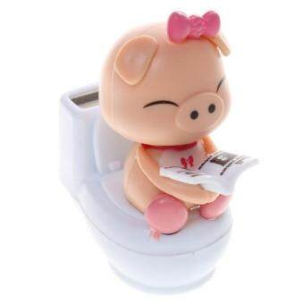 Harga BolehDeals Cute Solar Powered Pig Sitting On Toilet Home CarOrnament Kids Toy Pink - intl