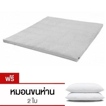 CB Cotton Topper เบาะรองนอนขนแกะเทียมจากญี่ปุ่น กันไรฝุ่นและเชื้อรา ขนาด 6 ฟุต รุ่นTopper (สีขาว) แถม หมอนห่านเทียม 2 ใบ