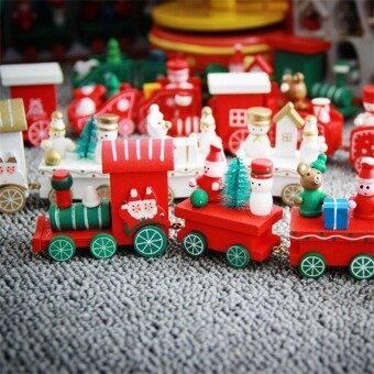 Children Creative Cute Wooden Trains Christmas Decorations Gifts Ornaments Furnishing Articles Color:random - intl