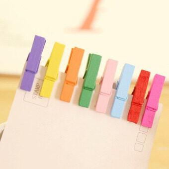 Cocotina 100ชิ้นคละสีกระดาษผ้าไม้รูปมินิติดไม้หนีบผ้าหนีบยาน 25มม