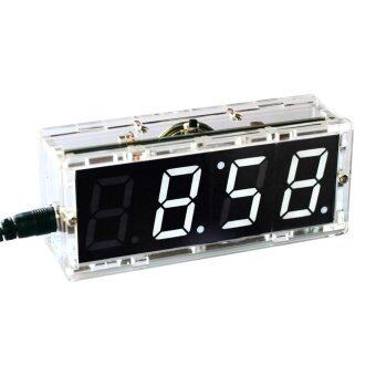 Compact 4-digit Digital LED Talking Clock DIY Kit Light ControlTemperature Date Time Display Transparent Case - intl