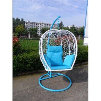 CONRAD MODERN HOME เก้าอี้แขวน กระเช้าแขวน หวายขาว รุ่น FSS-1D010(สีฟ้า)