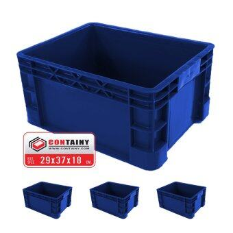 CONTAINY ลังพลาสติกทึบBOX-1033สีน้ำเงิน3ใบขนาด 29.5 x 37.5 x 18.5 ซม.