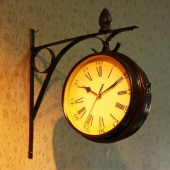 Creative Vintage Metal Wall Clock Round Rotated Retro HomeDecorative Art Clocks - intl