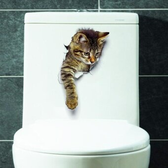 Cute Cat Wall Stickers Living Room Bedroom Decorations Creative 3D Animal Wall Stickers Bathroom Toilet Stickers - intl