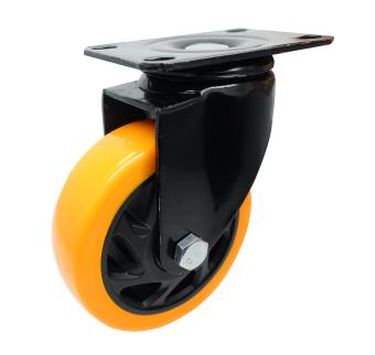 CVN ลูกล้อ PU ขนาด 3 นิ้ว ขาโครเมียมสีดำ แป้นหมุน ขนาด 94x65 มม(สีส้ม)