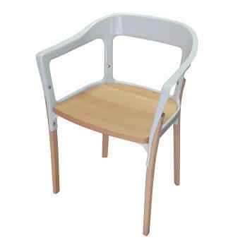 Daiso เก้าอี้ โครงเหล็ก ขาไม้ รุ่น CD-294 สีโครงเหล็ก เบาะไม้(สีขาว)